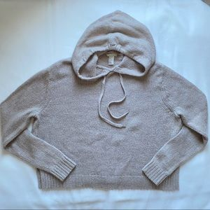 H&M Beige Knitted Hooded Sweater Cropped